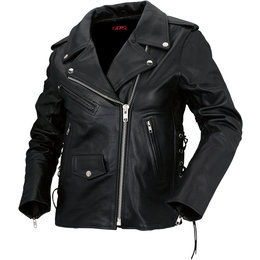 Z1R Womens 9MM Leather Motorcycle Riding Jacket Black