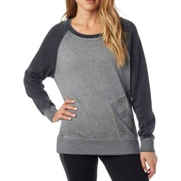 Fox Racing Womens Angled Crew Neck Pullover Sweatshirt Grey