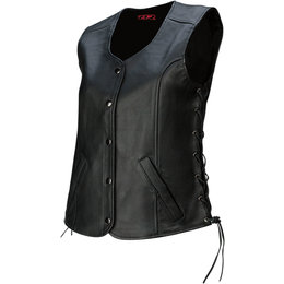 Z1R Womens Colt Leather Motorcycle Riding Vest Black