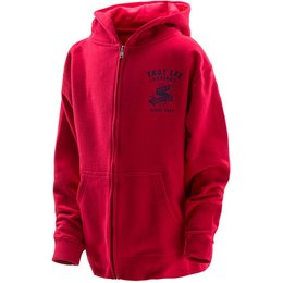 Troy Lee Designs Youth Boys Hand Crafted Zip Up Cotton Blend Hoodie Red