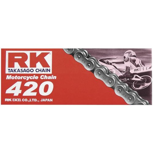 RK Racing Chain M420-110 420 Series 110-Links Standard Non O-Ring Chain with Connecting Link