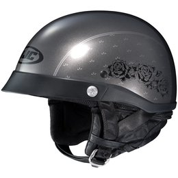 HJC Womens CL-Ironroad Black Rose Motorcycle Half Helmet With Visor Grey