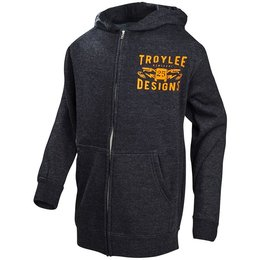 Troy Lee Designs Youth Boys Winning Zip Up Cotton Blend Fleece Hoodie Grey