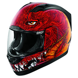 Icon Alliance Lucifur Full Face Helmet With Flip-Up Shield Red Red