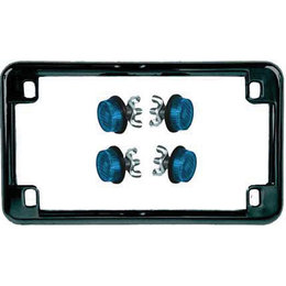 Black Frame/blue Reflectors Chris Products License Plate Frame Black With Blue Reflectors