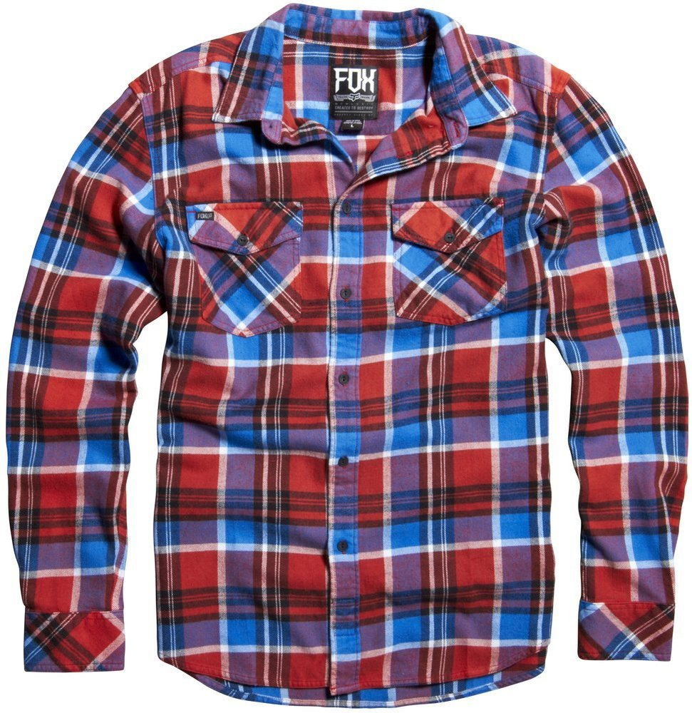 Fox racing mens trent long sleeve plaid flannel 195506 for Where to buy cheap plaid shirts