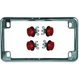 Chrome Frame/red Reflectors Chris Products License Plate Frame Chrome With Red Reflectors