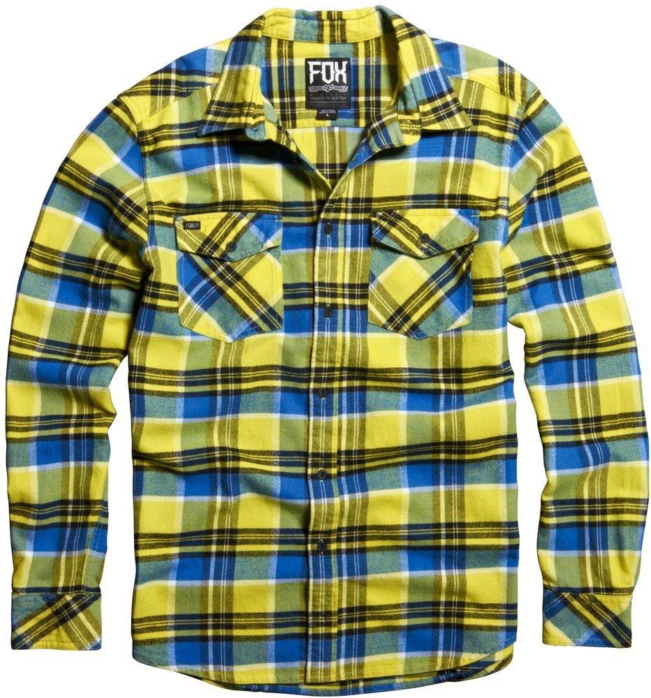 Fox racing mens trent long sleeve plaid flannel 195506 for Mens yellow plaid flannel shirt