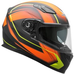 Vega RS1 RS-1 Slinger Graphic Full Face Motorcycle Helmet With Flip-Up Shield Orange