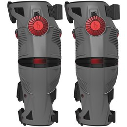 Storm Grey, Crimson Mobius X8 X-8 Knee Braces Pair Storm Grey Crimson