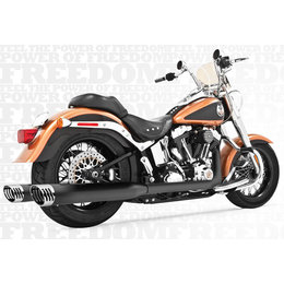 Freedom Performance Exhaust Racing Dual Black For Harley FLST FXST 2007-2013