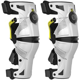 White, Acid Yellow Mobius X8 X-8 Knee Braces Pair White Acid Yellow