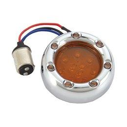 Arlen Ness Fire Ring Kit For Deuce Style Turn Signl Dual Func Chrome/Amber/Amber