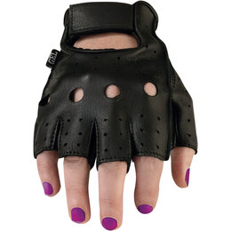 Z1R Womens 243 Fingerless Half Leather Motorcycle Riding Gloves Black