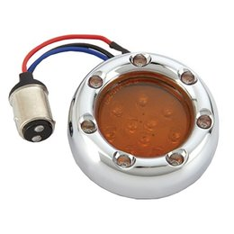 Arlen Ness Fire Ring Kit For Deuce Style Turn Signl Dual Func Chrome/White/Amber