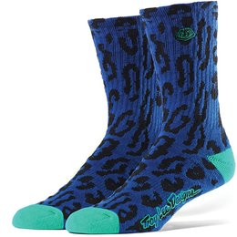 Troy Lee Designs Mens Cheetah Acrylic Crew Socks Blue