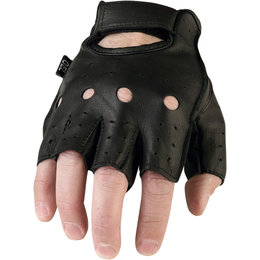 Z1R Mens 243 Fingerless Half Leather Motorcycle Riding Gloves Black