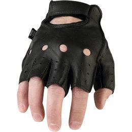 Z1R Mens 243 Fingerless Half Leather Motorcycle Riding Gloves Black