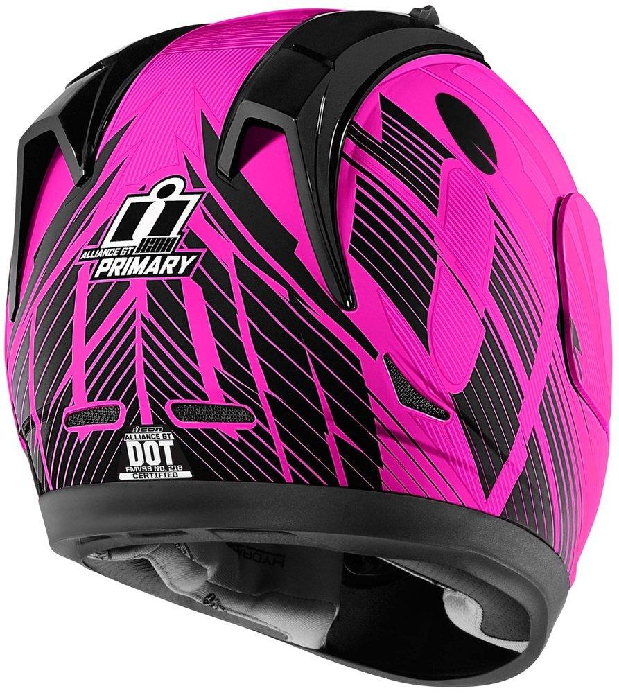 Choose Size Pink//Black ICON Alliance GT PRIMARY Full-Face Helmet w// Sun Visor
