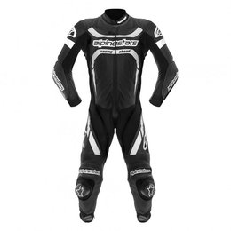 Black, White Alpinestars Motegi One Piece Leather Suit 2013 Black White Us 38 Eu 48