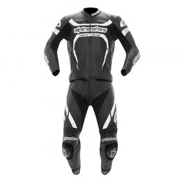 Black, White Alpinestars Motegi Two Piece Leather Suit 2013 Black White Us 40 Eu 50