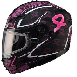 GMax Womens GM54S Pink Ribbon Modular Snow Helmet With Dual Pane Shield Black