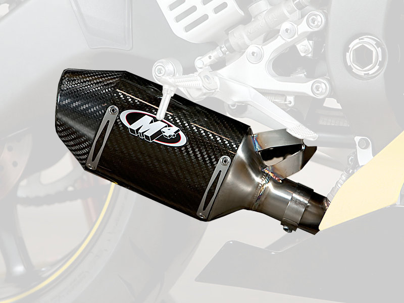 Carbon Fiber Motorcycle Helmets >> $355.00 M4 Street Slayer Mount Slip-On Exhaust For Yamaha #242062