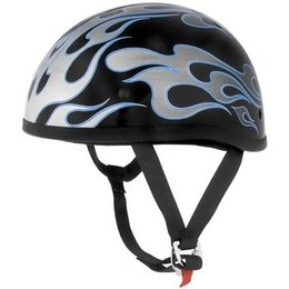 Blue Flames Skid Lid Original Flame Half Helmet Blue
