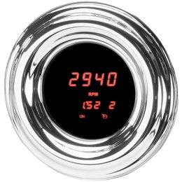 Dakota Digital Mini Round LED Tachometer 1-7/8 In Chrome Red For Harley Metallic