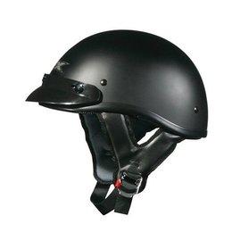 Flat Black Solid Afx Mens Fx-70 Fx70 Half Helmet Flat Black