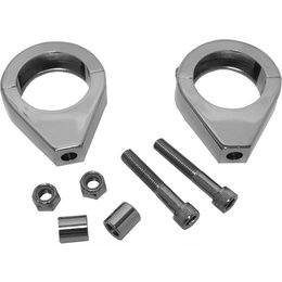 HardDrive 39mm Turn Signal Aluminum Clamp Pair Chrome Universal 41-033A Silver