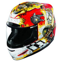 Icon Airmada Monkey Business Full Face Helmet With Flip-Up Shield Red Red