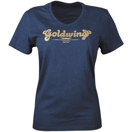 Navy Honda Womens Goldwing Sparkle V-neck T-shirt 2013