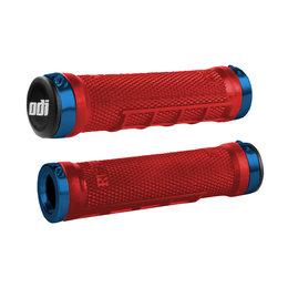 ODI ATV Ruffian Lock-On Half Waffle 130mm Grips Red Blue Universal J32RFBR-U Blue