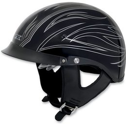 Black, Silver Afx Mens Fx-200 Pinstripe Half Helmet With Dual Shields Black Silver