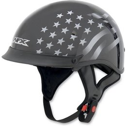 Black Afx Mens Fx-72 Fx72 Stealth Half Helmet With Built-in Shield