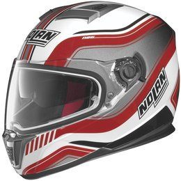 Metal White, Red Nolan Mens N86 Deep Full Face Helmet 2014 Metal White Red