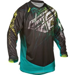 Black, Teal Fly Racing Mens Evolution 2.0 Spike Jersey 2015 Black Teal