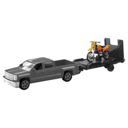 New Ray Toys 1:43 Scale Chevy Silverado Truck W/ Trailer & Dirt Bike Toy 19535A Orange
