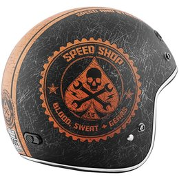 Black, Orange Speed & Strength Mens Ss600 Speed Shop Open Face Helmet 2013 Black Orange