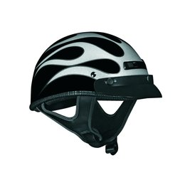 Silver Vega Mens Xts Flame Half Helmet 2014