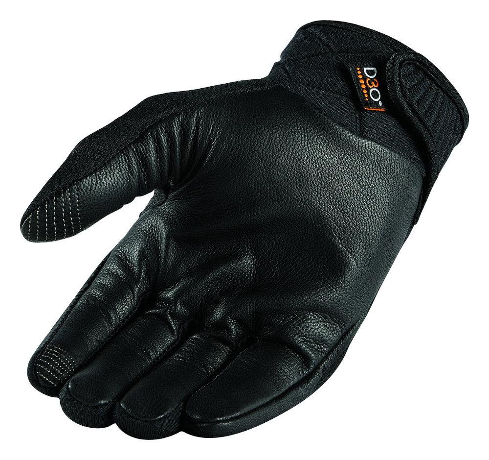 Black riding gloves -  Icon Mens Anthem 2 Stealth Armored Mesh Street Riding Gloves Black