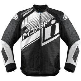 Icon Mens Hypersport Prime Hero Leather Jacket White