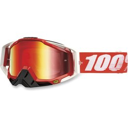 Fire Red 100% Racecraft Goggles With Red Mirror Lens 2014