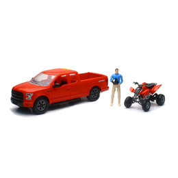 New Ray Toys 1:14 Scale B/O Ford F-150 W/ Honda TRX450 ATV Toy Set Red 02206A Red