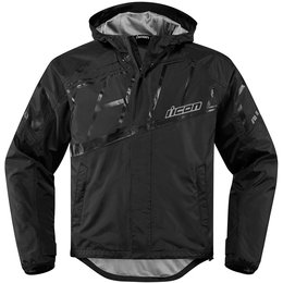 Icon Mens PDX 2 Waterproof Hooded Textile Jacket Black
