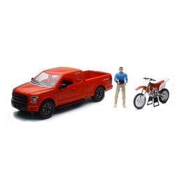 New Ray Toys 1:14 Scale B/O Ford F-150 W/ Honda CRF450 Dirt Bike Toy Red 02216A Red