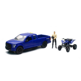 New Ray Toys 1:14 Scale B/O Ford F-150 W/ Yamaha YFZ450F ATV Toy Blue 02206B Blue