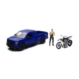 New Ray Toys 1:14 Scale B/O Ford F-150 & Yamaha YZ450F Dirt Bike Toy Blue 02216B Blue