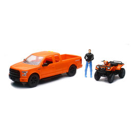 New Ray Toys 1:14 Scale B/O Ford F-150 & Suzuki Vinson ATV Toy Orange 02206C Orange